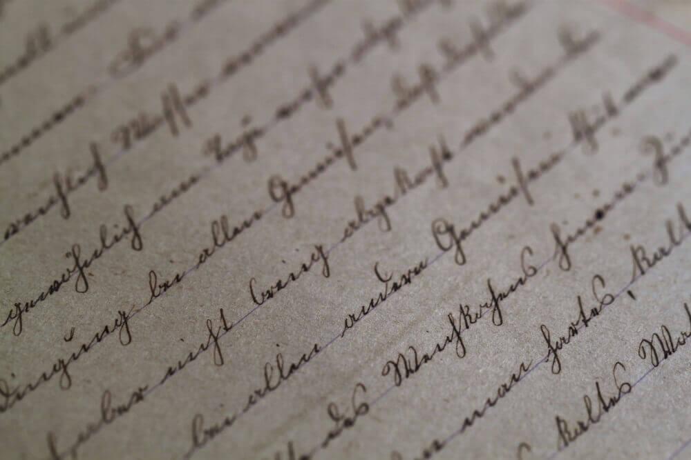 Eine Seite mit handgeschriebenen Zeilen