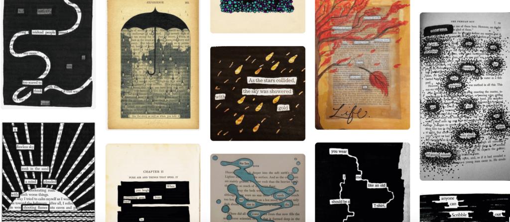 Eine Collage aus Beispielen von Blackout Poems auf Pinterest