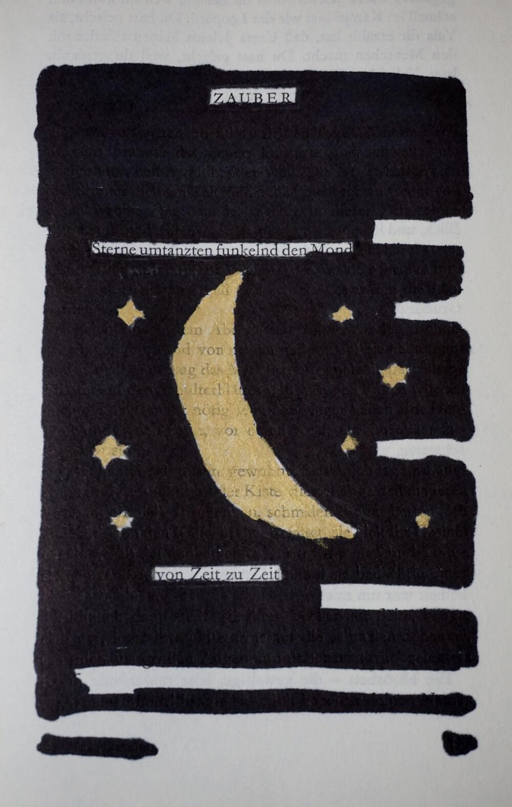 Ein Blackout Poemmit einem goldenen Halbmond und Sternen