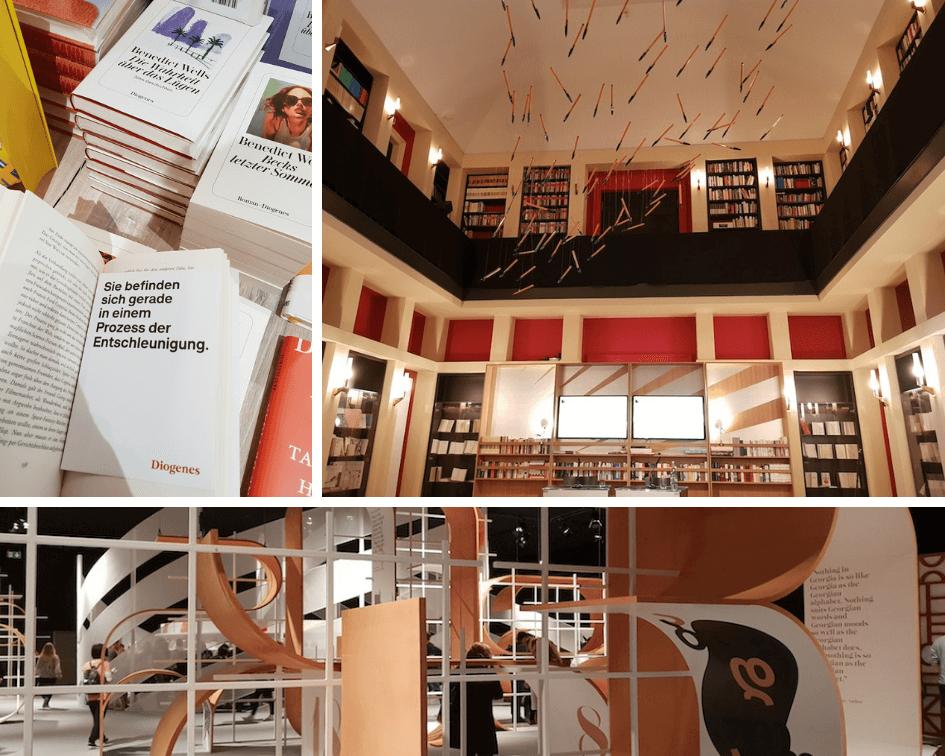 Collage aus Bilder der Buchmesse, einem Lesungssaal und Büchern