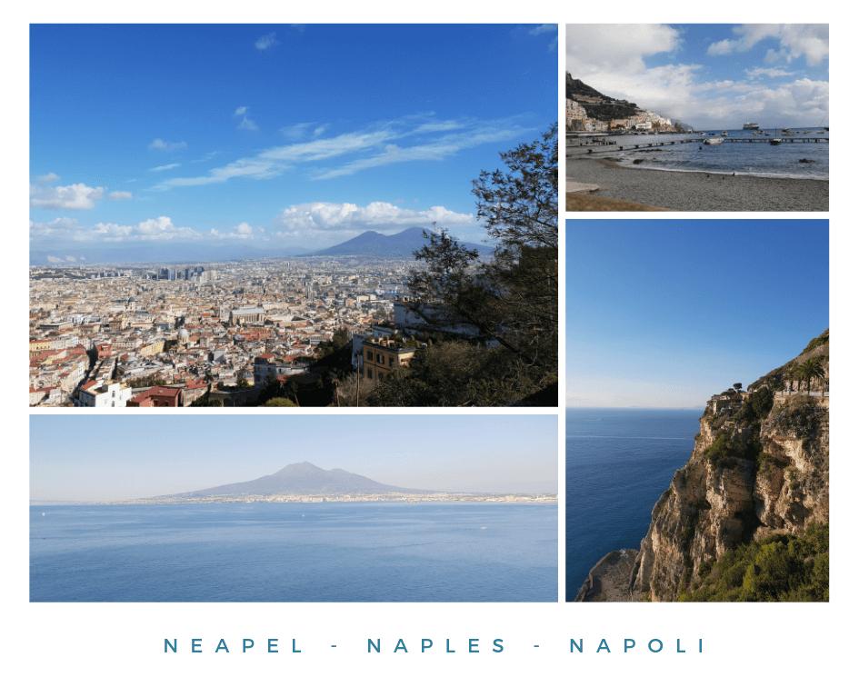 Collage aus Bildern von Neapel und der Amalfiküste